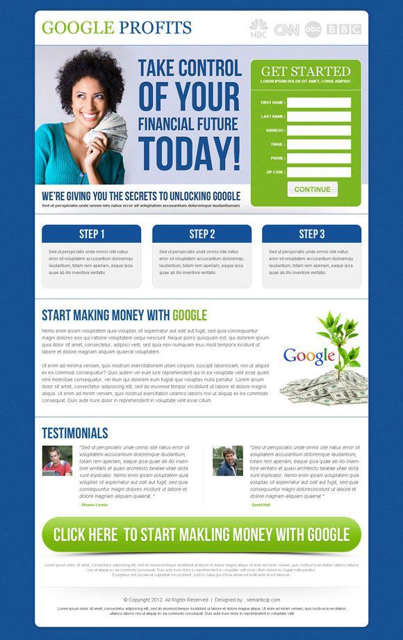 Google money online landing page design example to earn money online with Google.