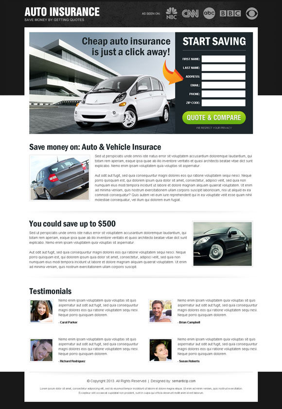 Auto insurance landing page design to boost your auto insurance business into next level.