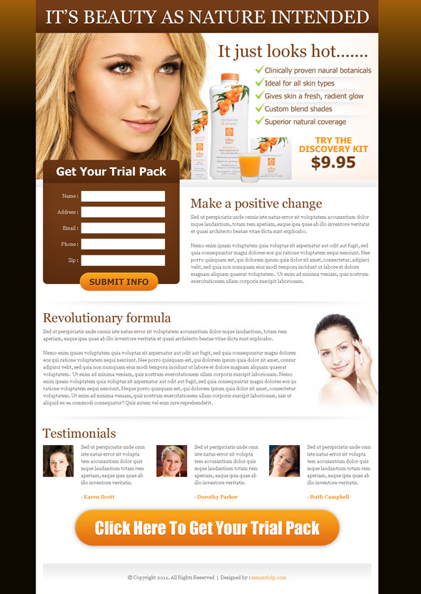 beauty product landing page design