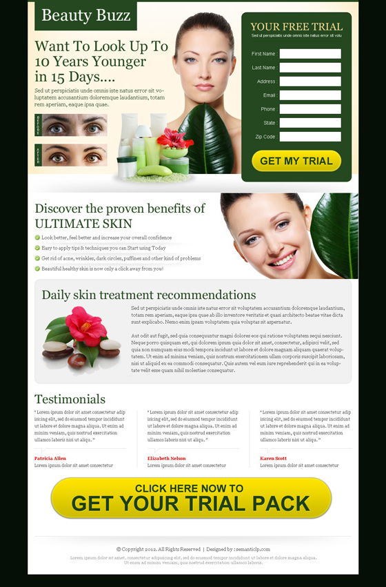 beauty product landing page for sale on http://www.semanticlp.com/buy-now1.php?p=621