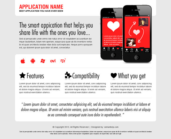 dating application landing page design