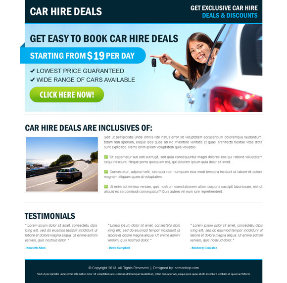 Clean landing page design example for car hire or car rental landing page design.