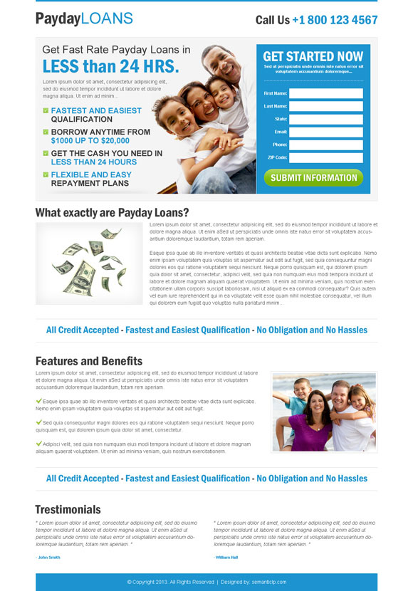 Clean landing page design example for inspiration in payday loan category for inspiration.