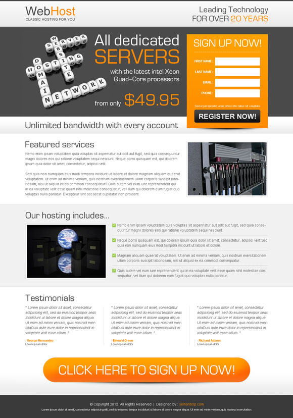 clean and user friendly web hosting landing page design