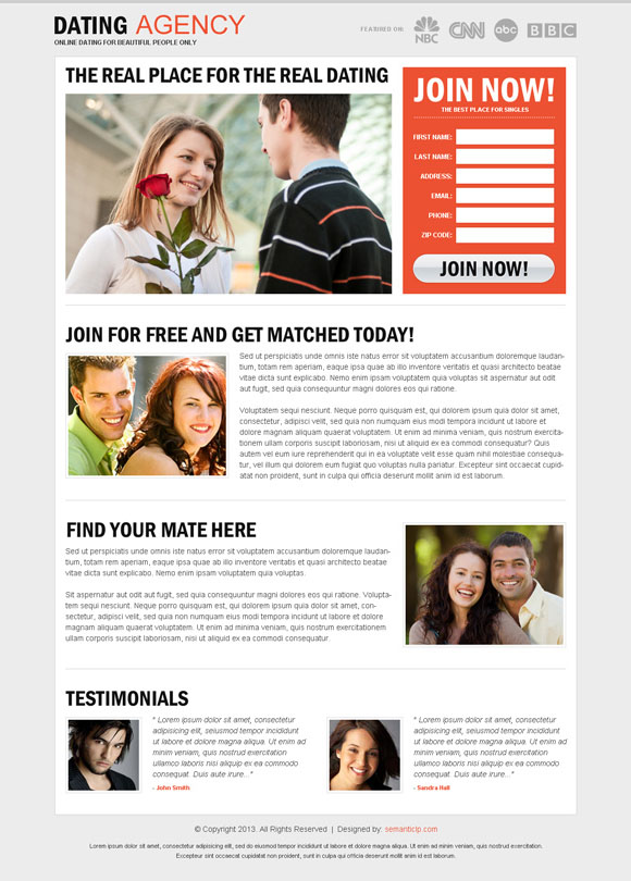 High quality amazing dating landing page design example for your inspiration.