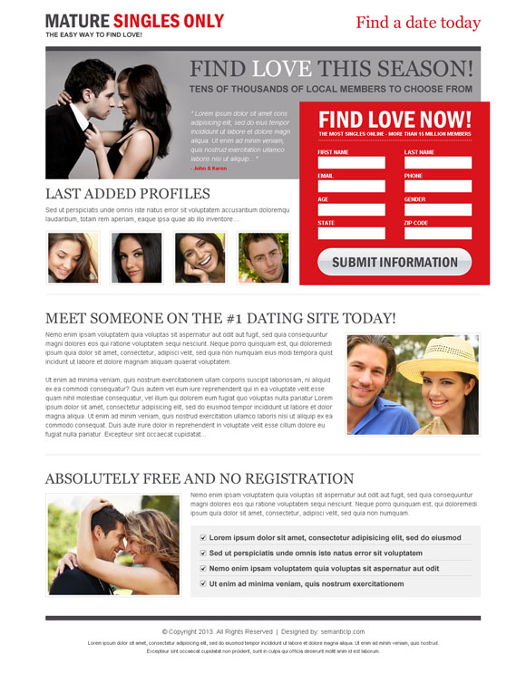 dating landing page design to capture leads and conversion