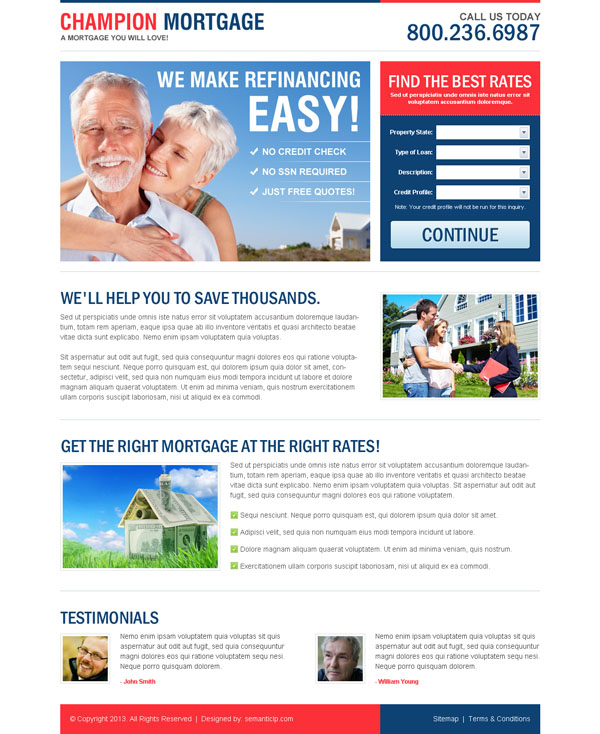 Clean and professional mortgage landing page design