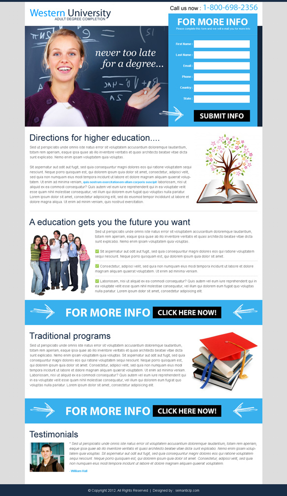 professional converting education landing page design