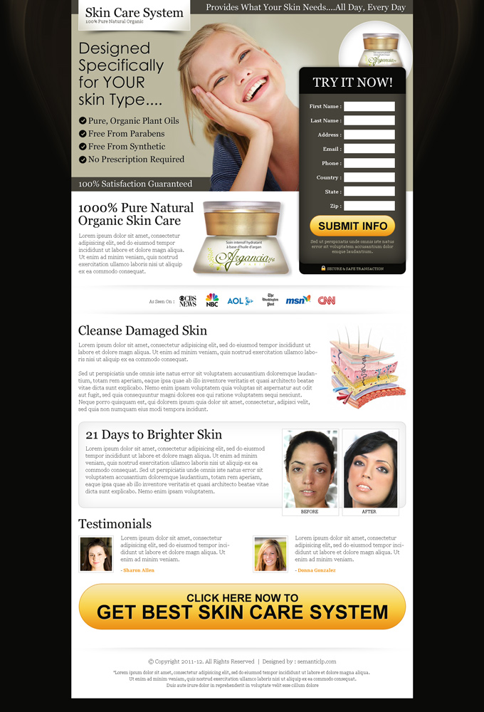 skin care squeeze page design for inspiration