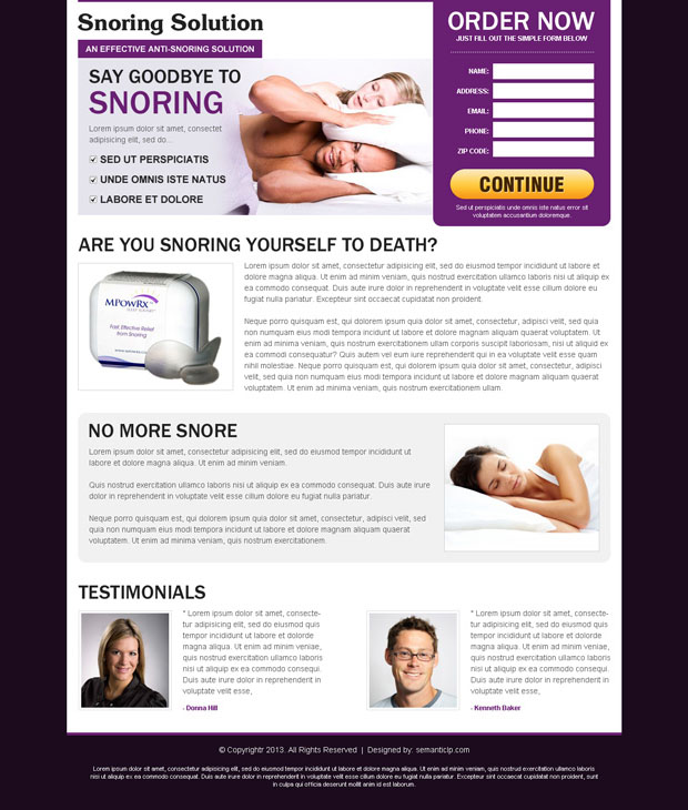 Anti snoring landing page design example for inspiration from our amazing landing page design collection.