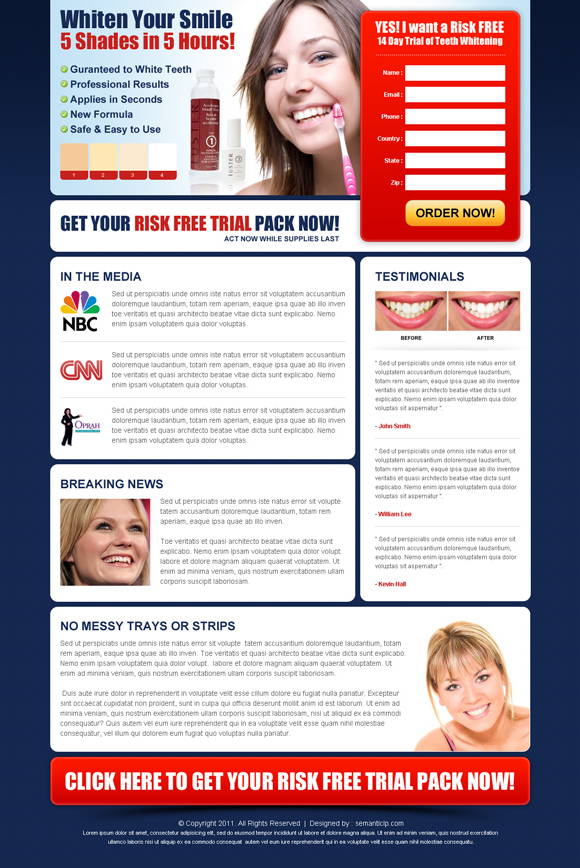 teeth whitening landing page design to increase conversion