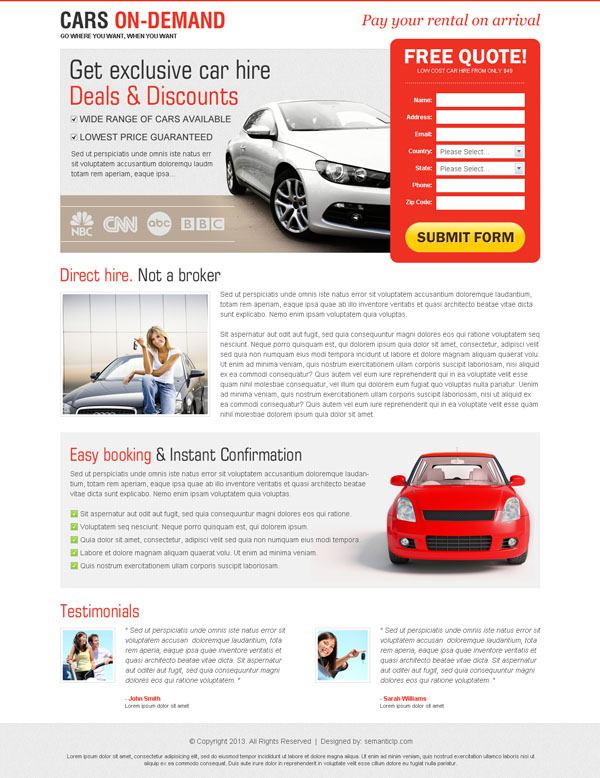 car hire landing page design