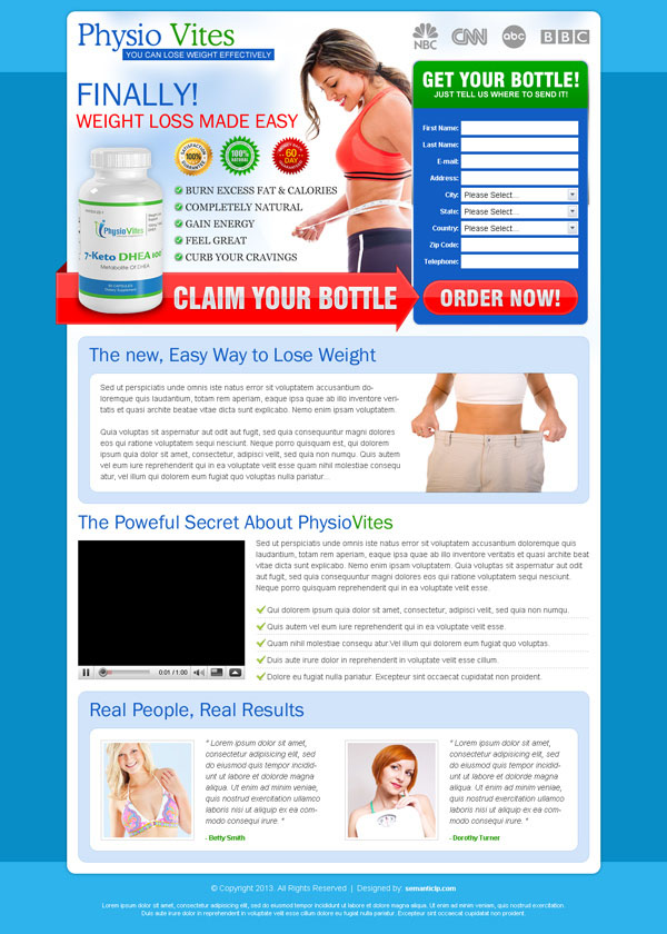 weight loss landing page design