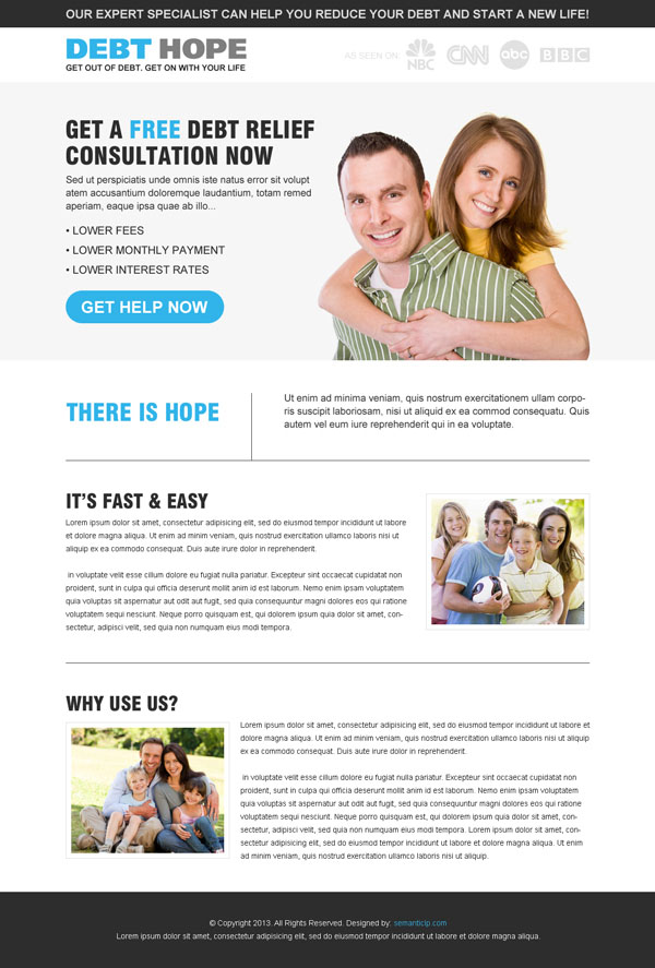 Responsive debt relief landing page design example for your debt relief businss from http://www.semanticlp.com/buy-now1.php?p=905