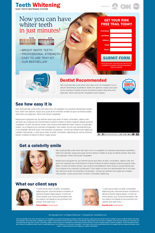 Best lead capture landing page design example for inspiration from http://www.semanticlp.com/category/teeth-whitening/