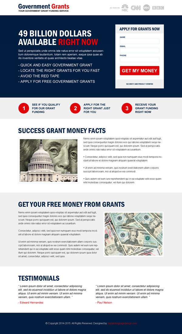 Effective lead capture government grants landing page design templates example from http://www.semanticlp.com/category/government-grants/