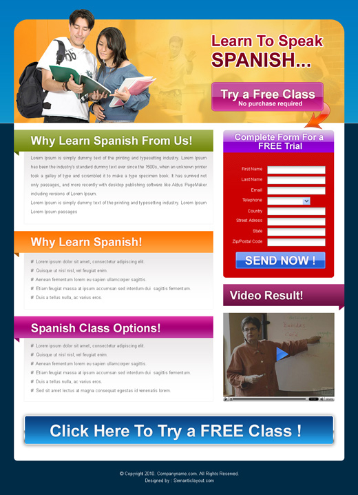Education landing page design template for slae