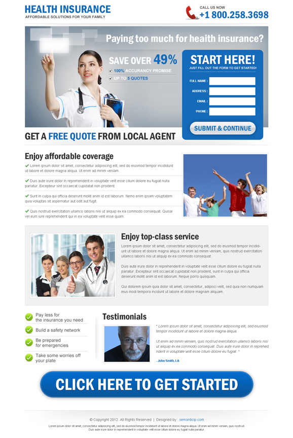 Buy and download professional health and medical insurance landing page design that collect leads and increase sales from http://www.semanticlp.com/buy-now1.php?p=710