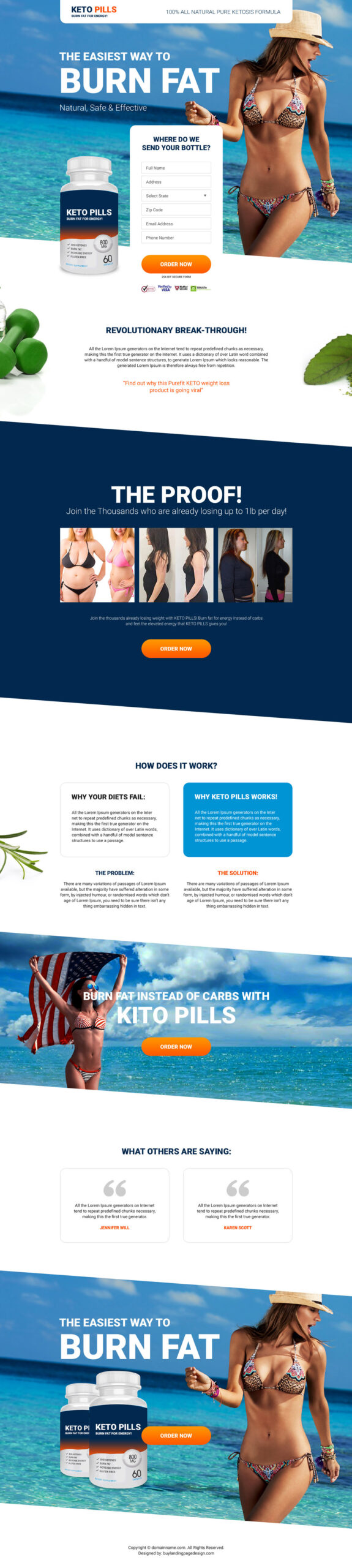 keto pills weight loss landing page
