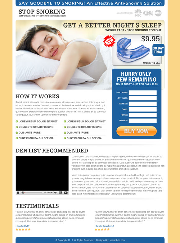 Best anti snoring landing page design to sell your anti snoring product online.