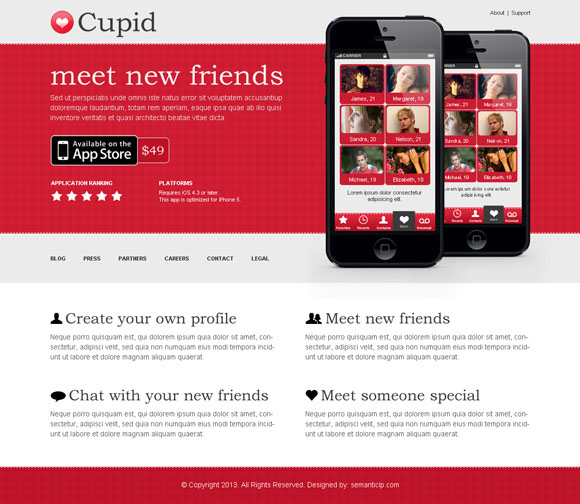 App landing page design example for inspiration to sell your mobile or web app online.