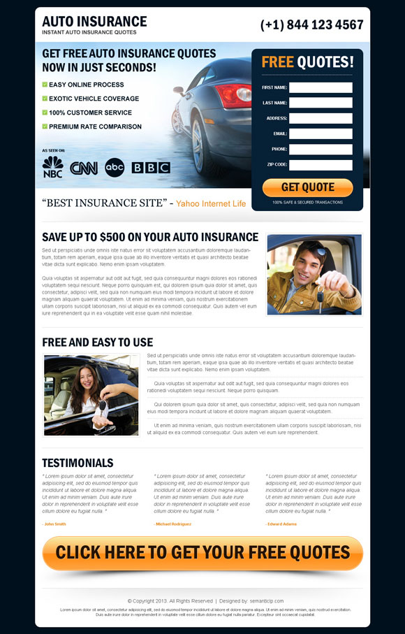Best auto insurance landing page design to boost your auto insurance business and sale.