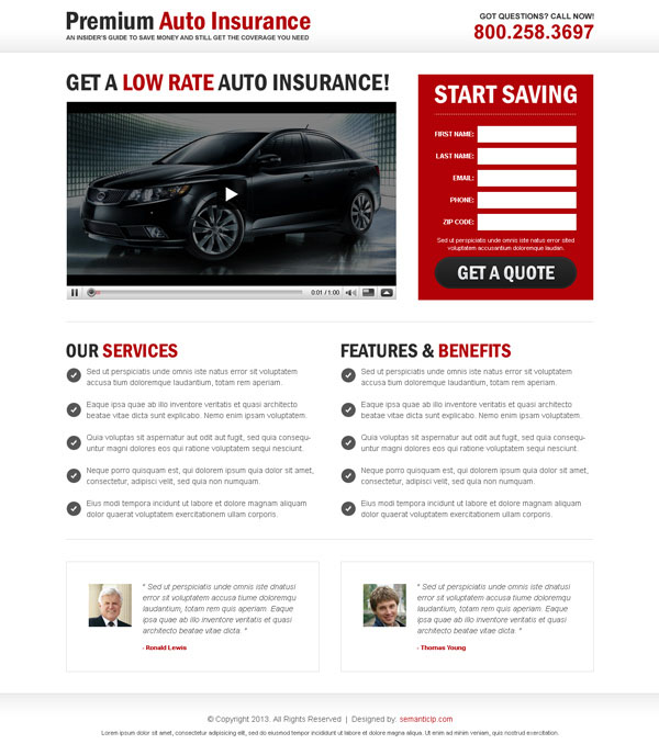 Best landing page design with video to promote your product and service like auto insurance.