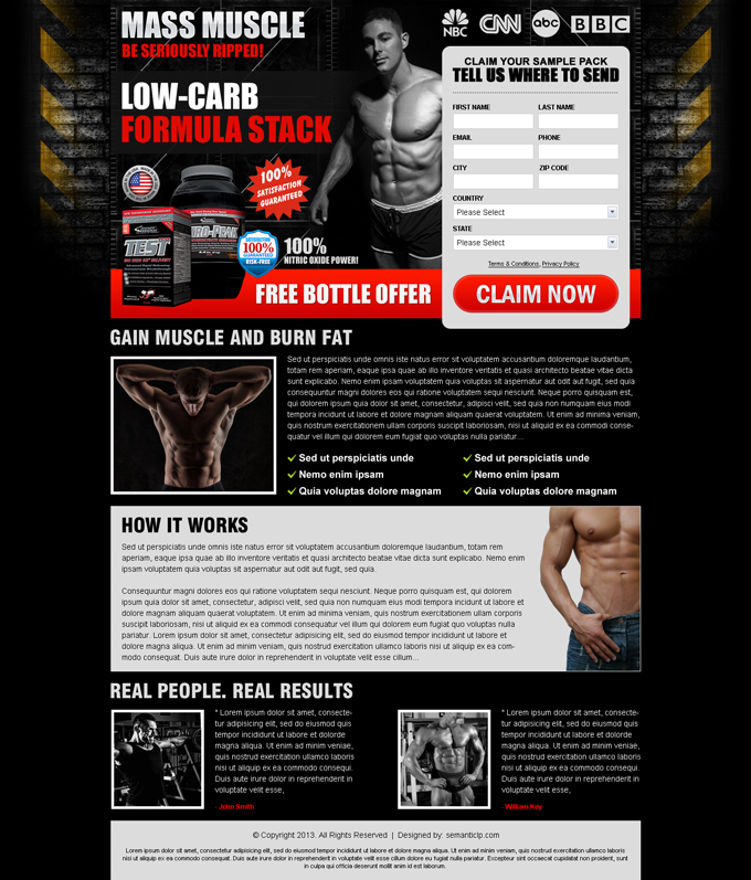 Effective and graphic rich bodybuilding landing page design to sell your body building product or subscription online.