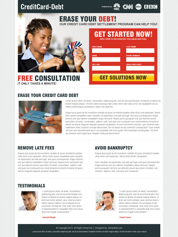 Download high converting professional credit card debt landing page design for your debt relief business.