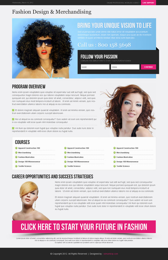 High quality professional fashion landing page design to promote fashion model personal website, blog or profile.