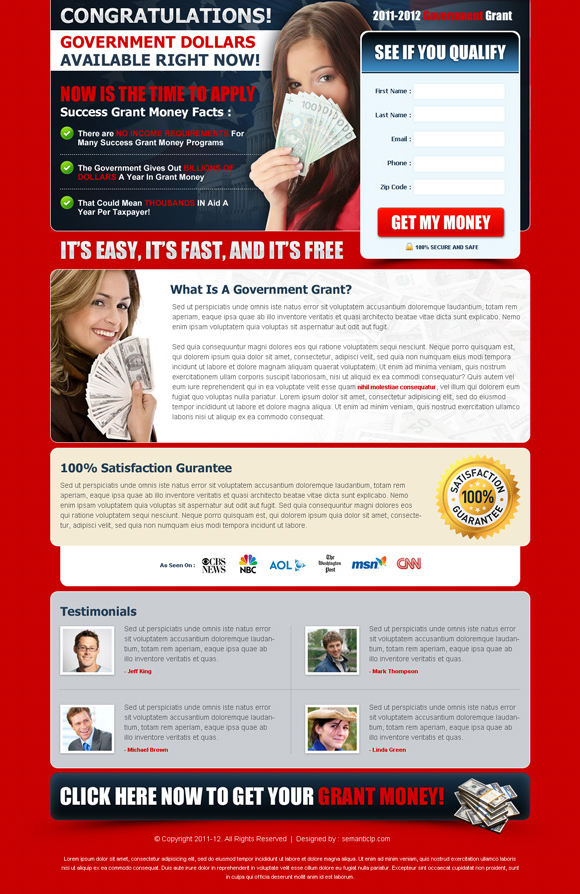 Purchase and download government grants landing page design to boost conversion of government grants website or blog.