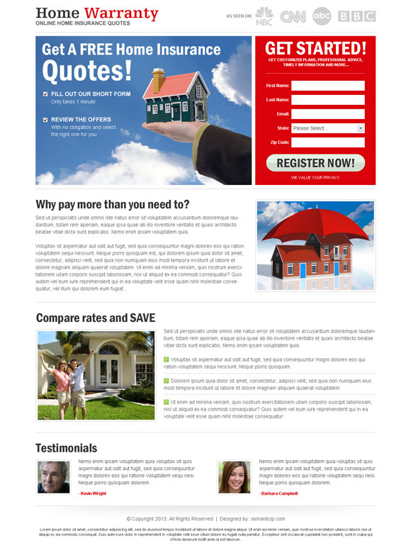 Nice and clean home insurance landing page design or squeeze page design sample as best landing page design 2013.