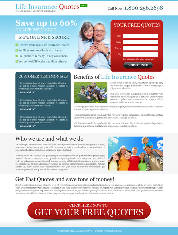 Professional and effective life insurance quote landing page design to promote your life insurance business online with better conversion and sale.