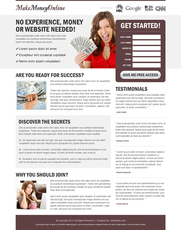 High quality effective make money online landing page design example to earn money online.