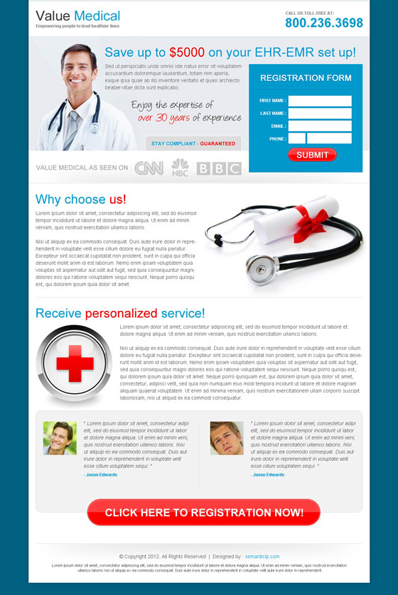 Online medical service landing page design to capture leads and boost your business.