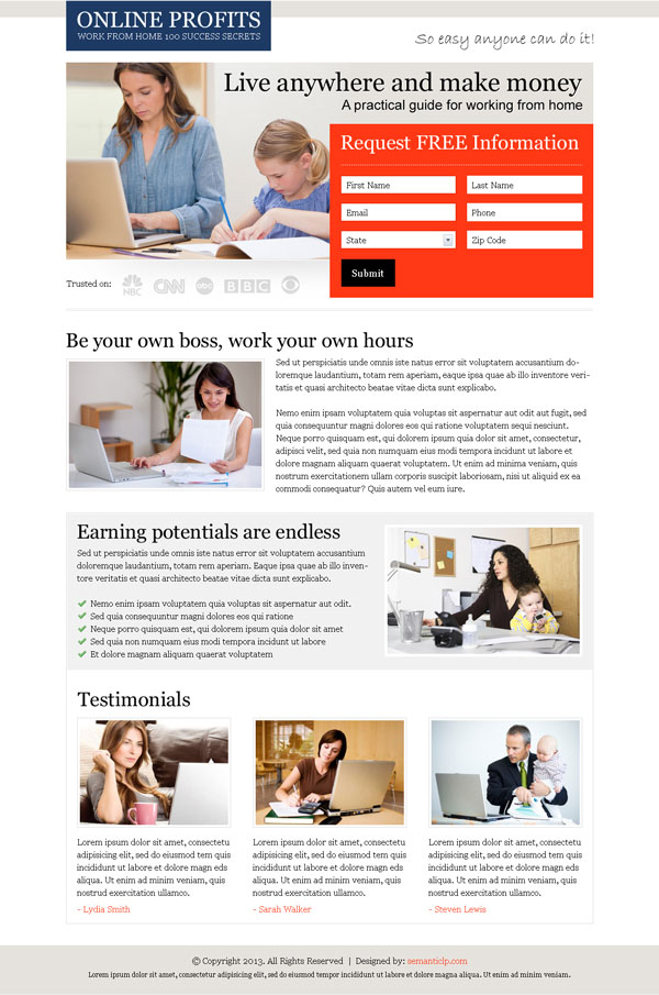 Make money online by doing work from home landing page design example for inspiration.