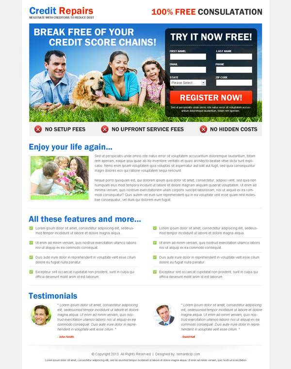 High quality professional, nice and clean online credit repair landing page design example for your credit repair business.
