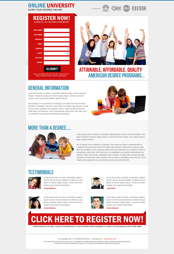 High converting professional education landing page design that converts traffic into leads.