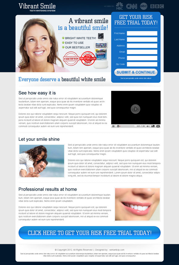 Teeth whitening landing page design example to collect leads and do more sale of your teeth whitening product online.
