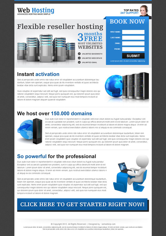 Professional web hosting landing page design example to promote your hosting service and special offer.