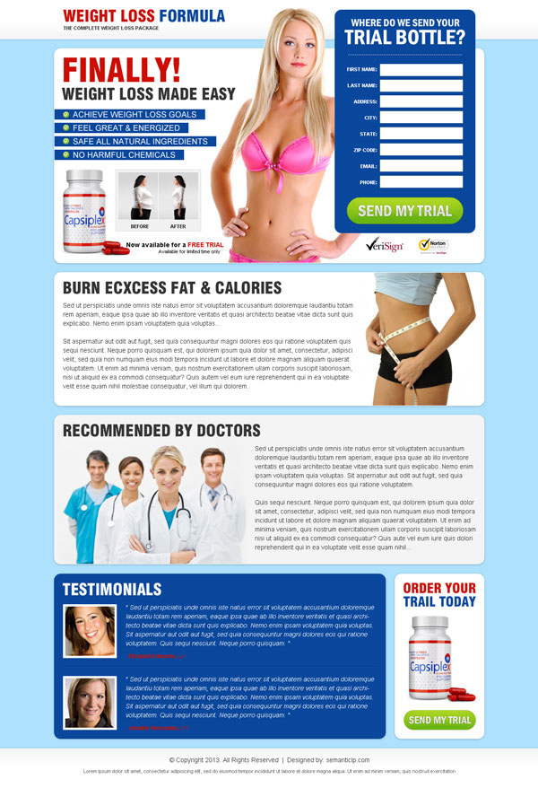 High converting professional weight loss formula landing page design to sell your weight loss product online.