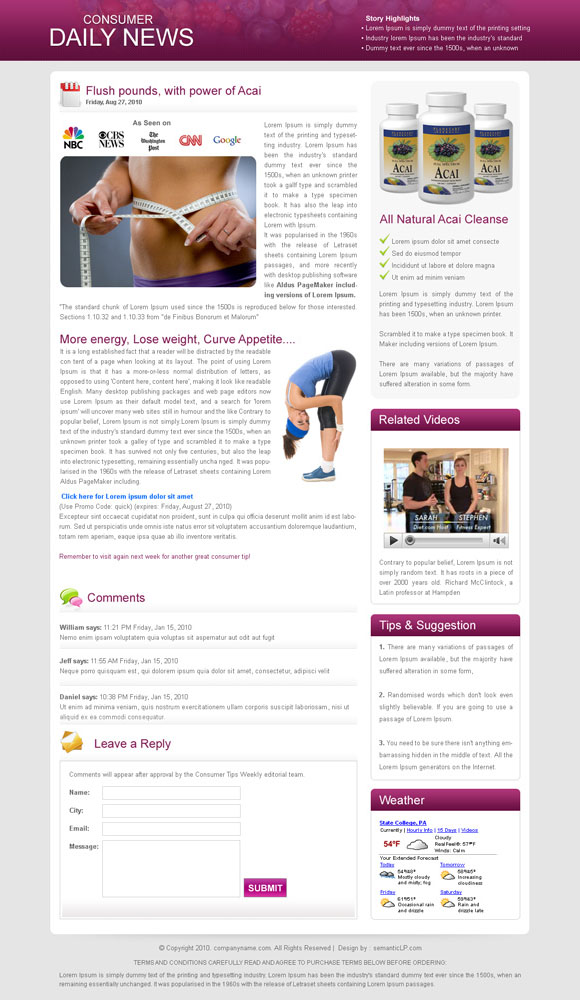 Daily news flogs style landing page design for weight loss product from our creative landing page design collection.