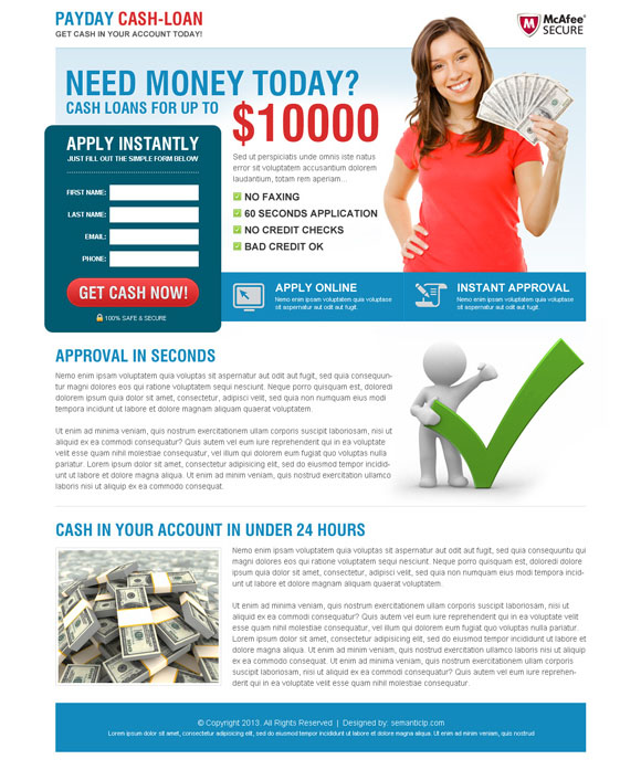 payday cash loan landing page design template