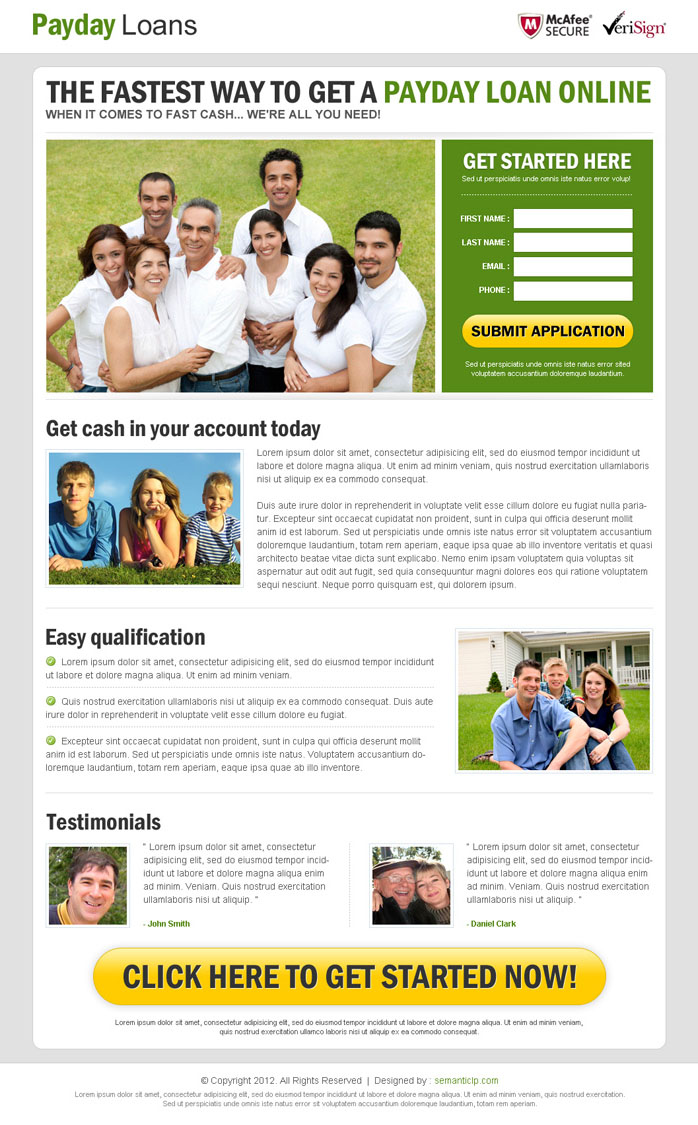 payday loan lander design