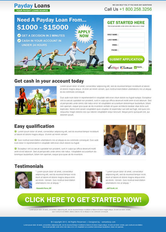 payday loan squeeze page design