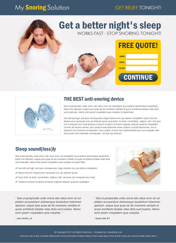 Boost sell of your anti snoring product online and capture leads by using effective anti snoring product landing page design from http://www.semanticlp.com/category/anti-snoring/
