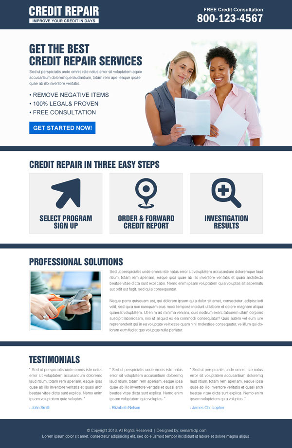 Effective and converting credit repair landing page design