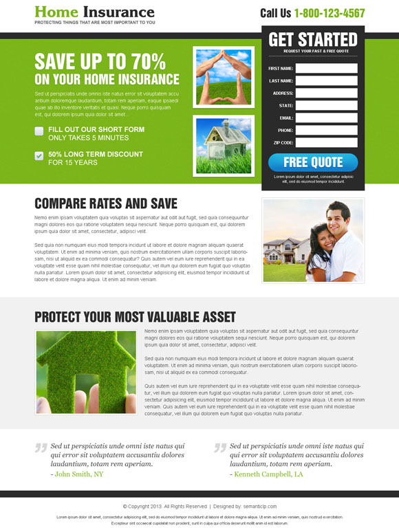 Get more business on home insurance by using converting and effective home insurance landing page design from http://www.semanticlp.com/category/home-insurance/