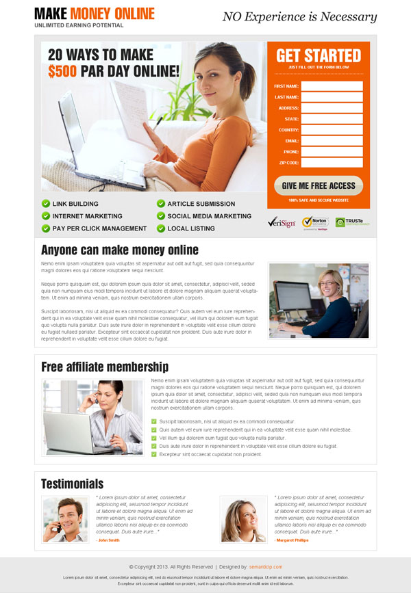 Clean and attractive make money online landing page design example from http://www.semanticlp.com/category/make-money-online/