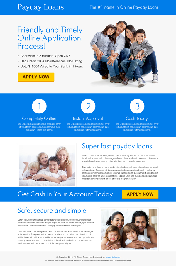 Nice an clean payday loan landing page design for your payday loan business